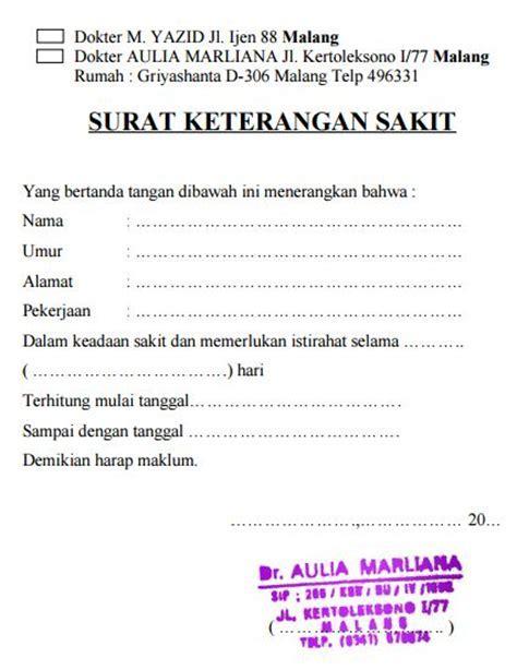 Contoh Surat Keterangan Sakit Dari Dokter