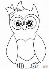 Coloring Owl Pages Cartoon Printable Cute Drawing Cutest Colorings sketch template