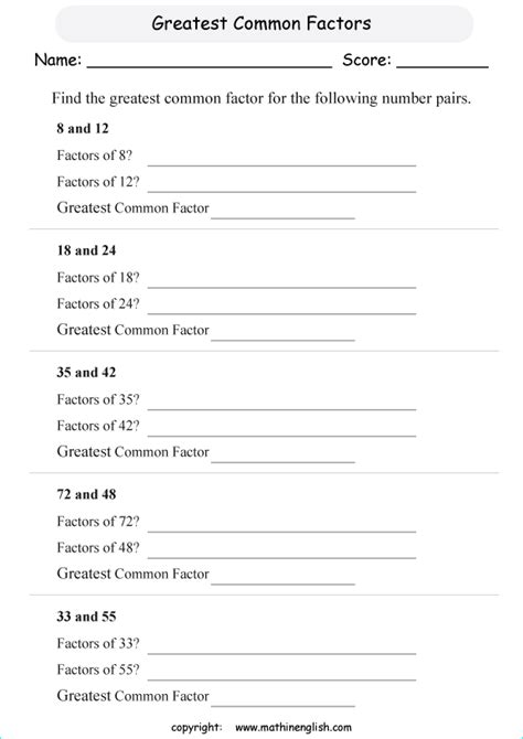 math worksheets greatest common factor printable find