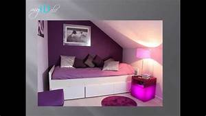 deco chambre d39ado fille violette youtube With photo de chambre ado fille