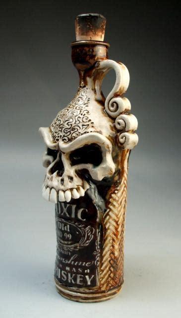 design dark skull steampunk gothic whiskey toxic ceramic