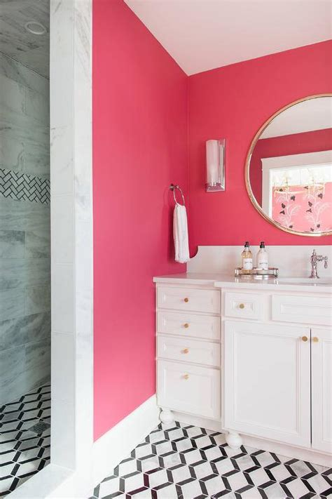 neon pink wall paint contemporary bathroom benjamin