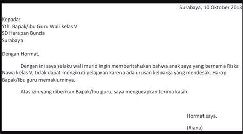 Contoh Surat Ijin Tidak Masuk Sekolah by Gambar Contoh Surat Pernyataan Tidak Masuk Sekolah 39 Bagi