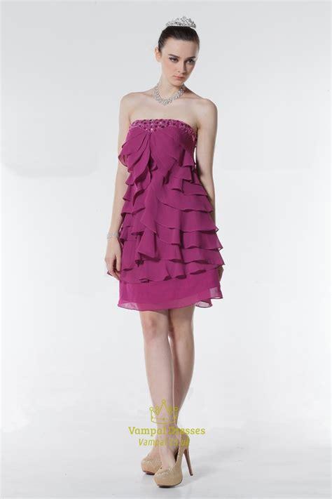 Fuchsia Ruffle Strapless Short Party Prom Dress,fuchsia