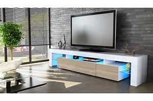 Banc Tv Suspendu : meuble tv design laqu blanc pour salon ~ Teatrodelosmanantiales.com Idées de Décoration