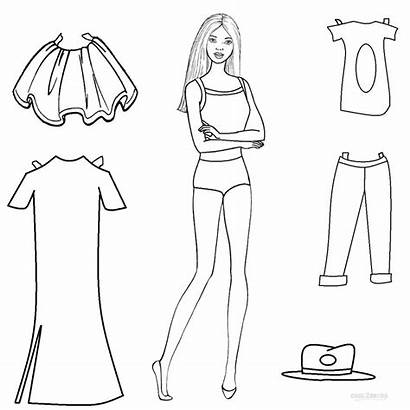 Paper Doll Dolls Coloring Pages Printable Barbie