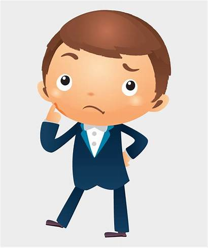Thinking Cartoon Clipart Face Pointing Person Hand