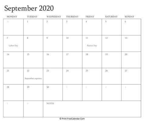 printable september calendar   holidays