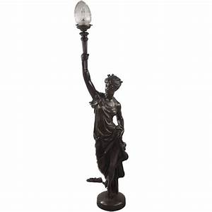 Art deco figurative floor lamp of lady liberty for sale at for Art deco lady floor lamp