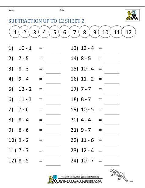 math subtraction worksheets 1st grade
