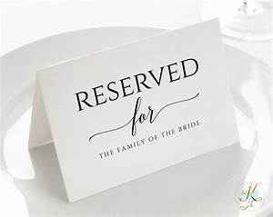 Wedding Sign Template - Reserved  Small