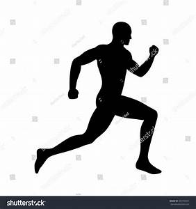 Man Running Sprinting Silhouette Flat Icon Stock Vector ...
