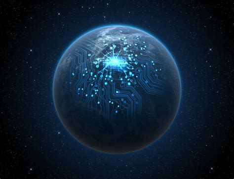 Planet With Illuminated Network Digital Art by Allan Swart