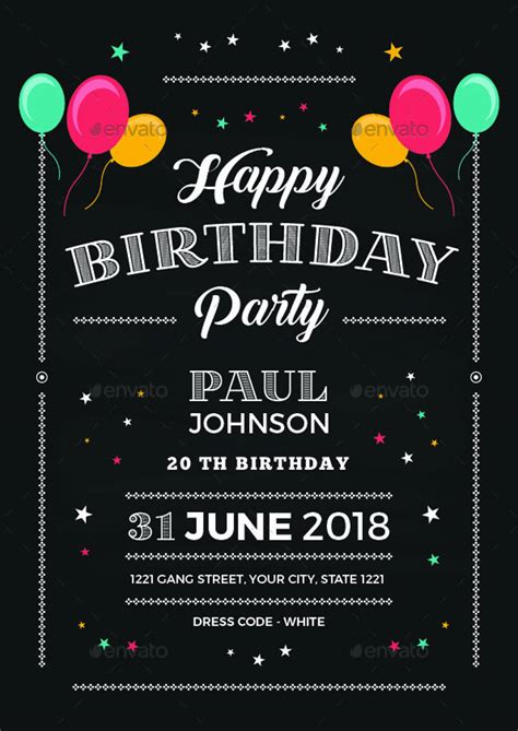 chalkboard birthday invitation design