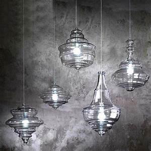 Modern north blown glass pendant lighting in chrome finish