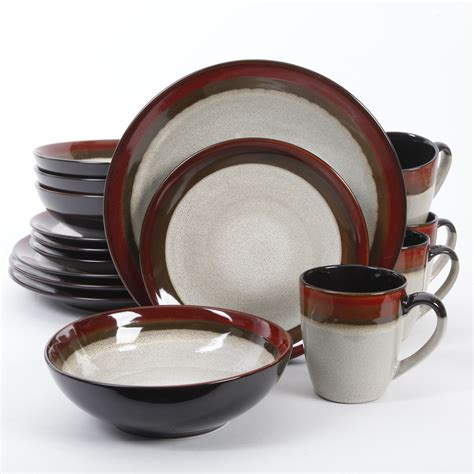 dinnerware gibson sets couture bands elite piece plates dinner dishes melamine outlet sc st stoneware canada brown bowls square dining
