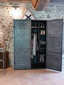 Armoire Industrielle Vintage : armoire m tal ann es 50 industriel vintage dressing ~ Teatrodelosmanantiales.com Idées de Décoration