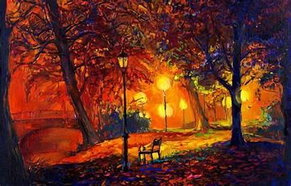 Landscape Painting Oil Autumn Watercolor Paint Desktop