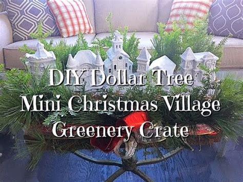 diy dollar tree mini christmas village greenery crate