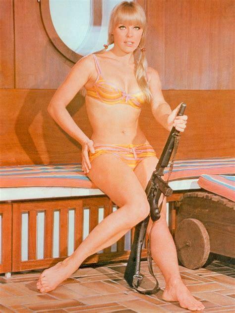 gloria guida swimsuit odk 2 pin up elke sommer bikini girl with machine gun