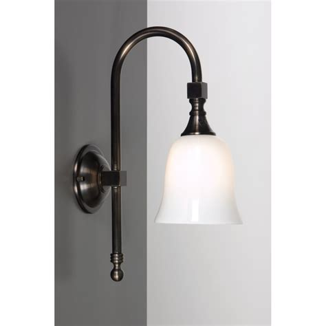 traditional ip44 bathroom wall light aged brass white