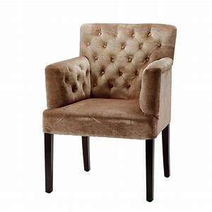 Chaise Fauteuil Avec Accoudoir : chaise en velours beige avec accoudoirs cabaret achat vente chaise cdiscount ~ Melissatoandfro.com Idées de Décoration