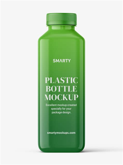 Free for personal and commercial use zip file includes: Square glossy bottle mockup - Smarty Mockups