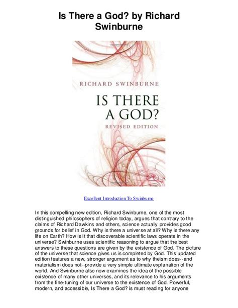 Is There A God By Richard Swinburne Excellent Introduction