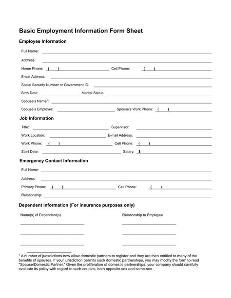 employment information sheet 13 employee information forms free word pdf format