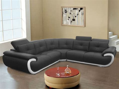 vente unique canapé cuir canapé angle cuir 6 places noir blanc ou gris blanc smiley