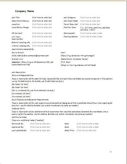 job description form template word excel templates