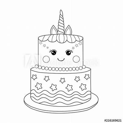 Unicorn Cake Coloring Vector Handdrawn Doodle Adult