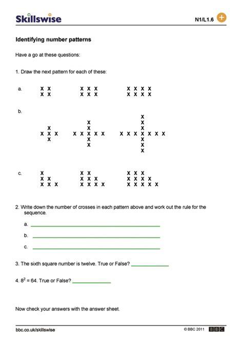 skillswise identifying number patterns