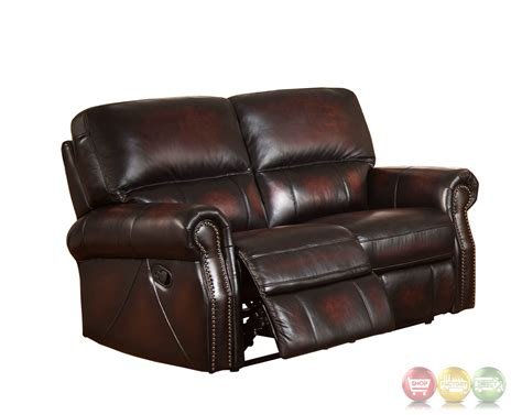 Top Grain Leather Loveseat by Burgundy Lay Flat Reclining 3pc Sofa Set In Top