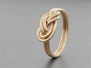 alternative engagement ring 14k solid gold double figure With the knot wedding ring