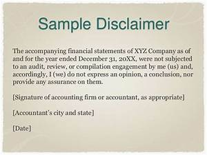 the new preparation of financial statements standard With earnings disclaimer template