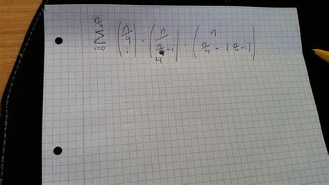 summe aufloesen binomialkoeffizienten mathelounge