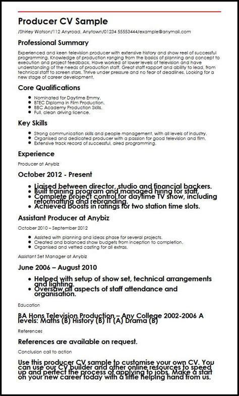Exle Of A Cv by Producer Cv Sle Myperfectcv