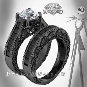 Jack skellington inspired white black swarovski accents for Jack skellington wedding rings