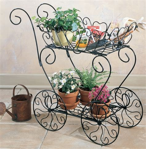 scrolling decorative metal garden cart