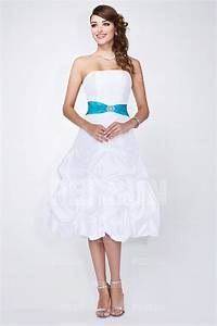 Robe Mi Longue Mariage : robe bustier ceintur e de ruban blanche mi longue pour mariage ~ Melissatoandfro.com Idées de Décoration