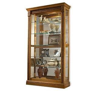 pulaski two way sliding door curio in estate oak bed bath beyond