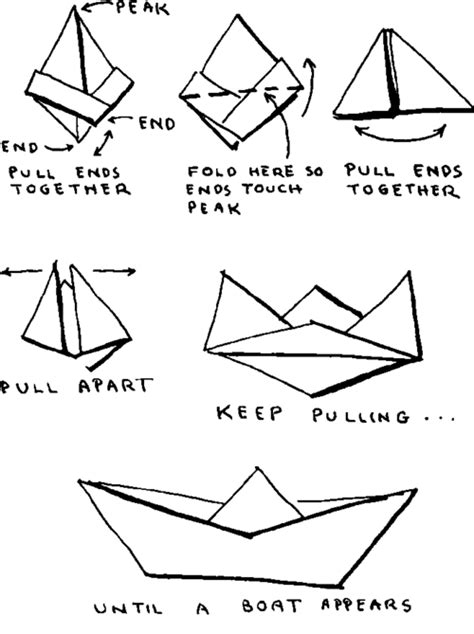 How To Make A Paper Boat And Hat by Continue Refolding Following The Illustrations Outlined