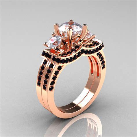 14k rose gold three stone black diamond white sapphire wedding ring engagement ring