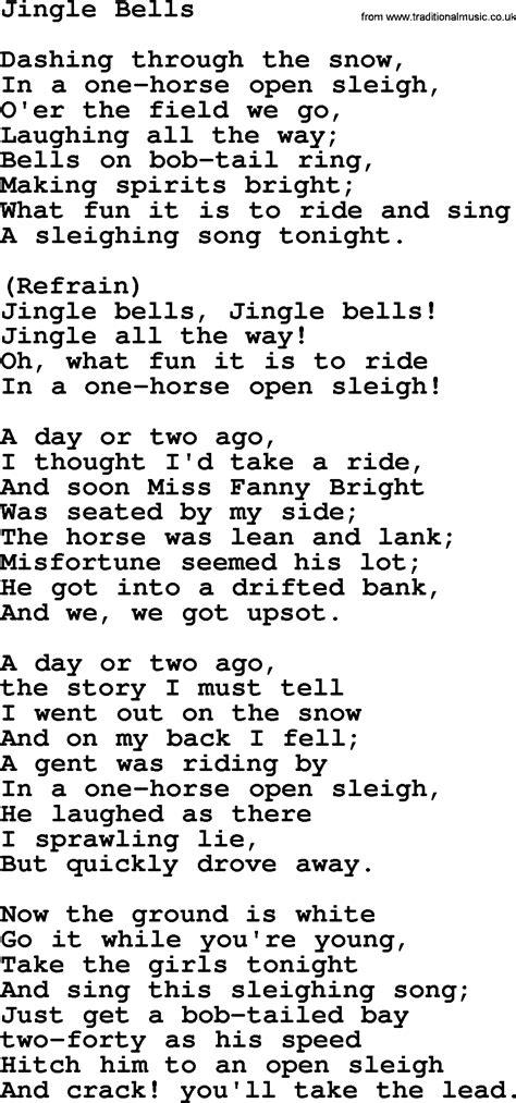 catholic hymns song jingle bells lyrics