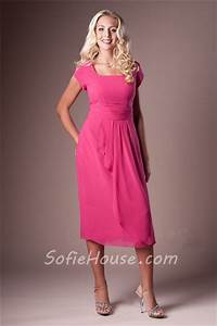 Modest Sheath Square Neck Hot Pink Chiffon Short Sleeve ...