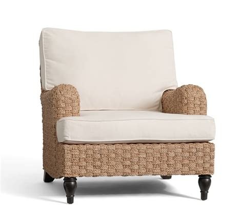 Seagrass Armchair by Fisher Woven Seagrass Armchair Pottery Barn