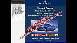 Maserati Spyder Coupe M138 Workshop Repair Manuals Wiring