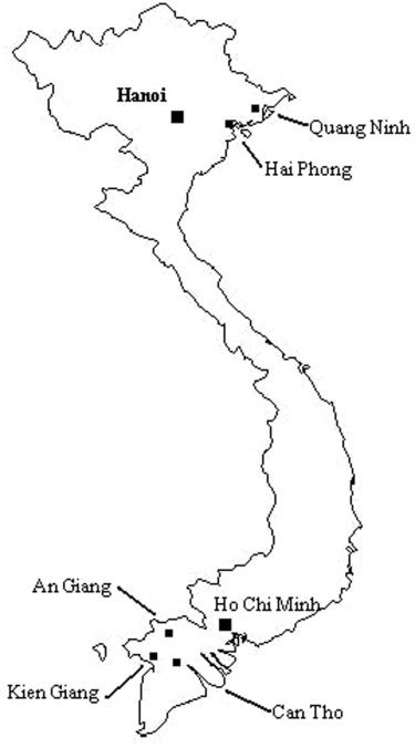 map  vietnam showing  provinces  cities
