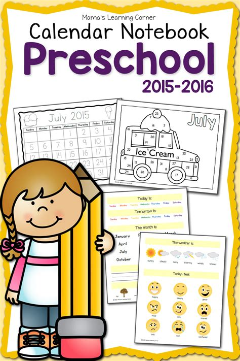 preschool calendar notebook mamas learning corner 879 | Preschool Calendar Notebook 2015 2016